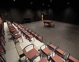 Isometric image of the Studio Theatre with seating and baby grand piano