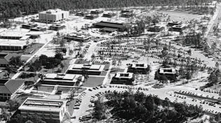 aerial photograph of campus in 1967