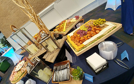 spread of finger foods at a catered event