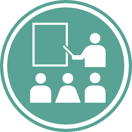 Graphic of three students and an instructor pointing to a board.