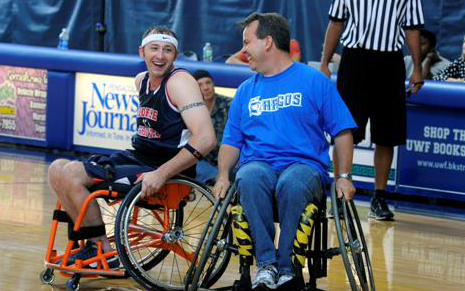 Photo of wheelchair basketball game.