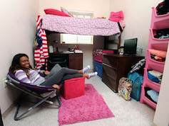 Student in suite-style single room
