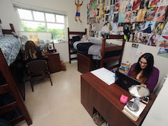 Students studying in suite-style double room