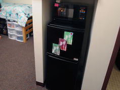 A microfridge in a traditional-style residence hall room.