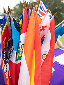 A bundle of small flags from multiple countries.