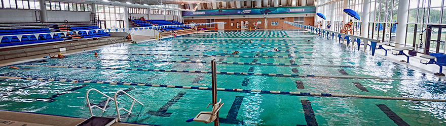 Photograph of the pool showing life guard stands, lanes, bleachers and the windows.
