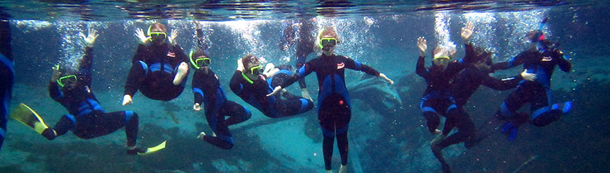 Students snorkeling underwater and posing for the camera