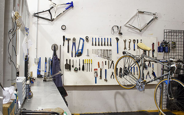 A picture of the interior of the OA Bike Shop