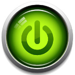 Icon with a green on/off button