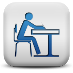 Graphic of a student sitting at a desk.
