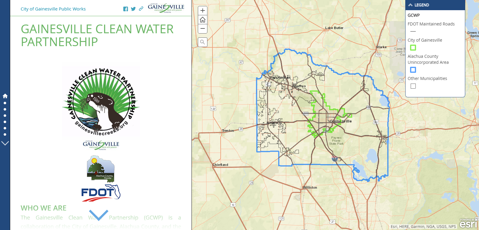 Gainesville Clean Water Partnership Story Map For Public Use image