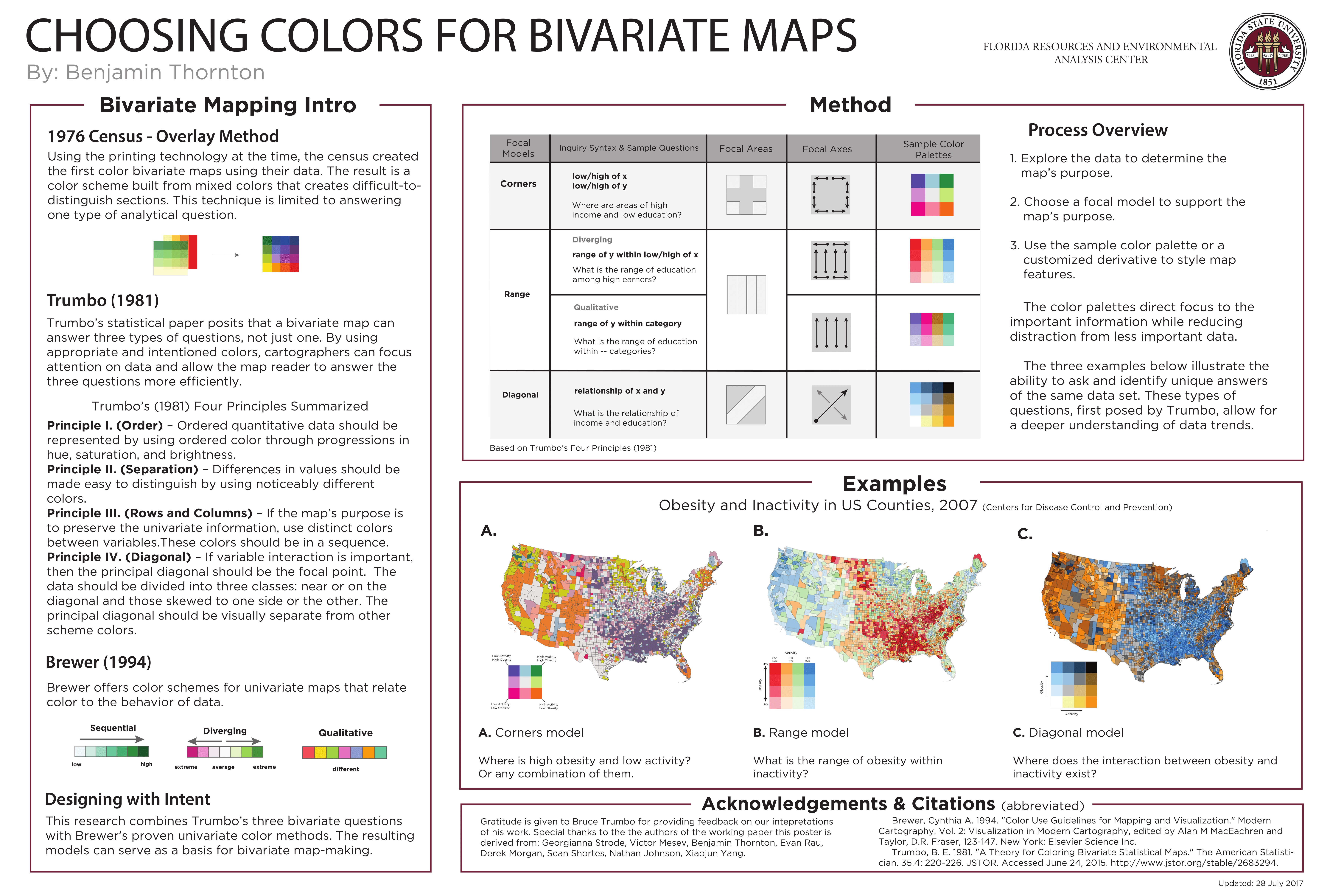 Choosing Colors for Bivariate Maps. Bivariate maps show 2 phenomena simultaneously. Color choices can direct the reader's focus to the important information while reducing distraction from less important data.  This research serves as a basis for bivariate map-making with color.