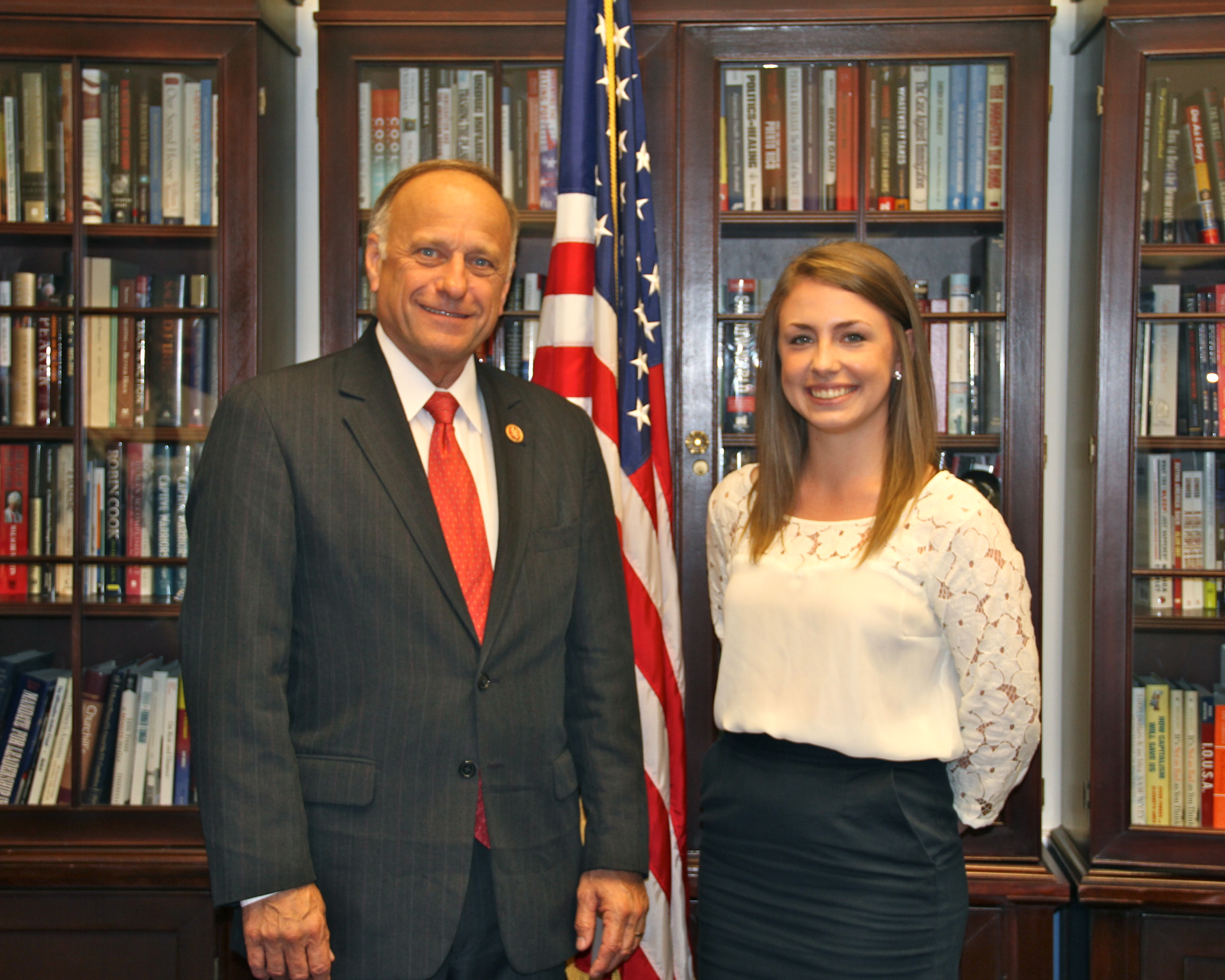 Nora Trotman, majoring in Political Science and Communication Arts, is pictured with Congressman Steve King (R IA-4) during her internship in Washington, D.C.