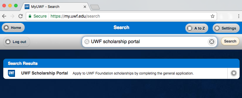 UWF Scholarship Portal screenshot