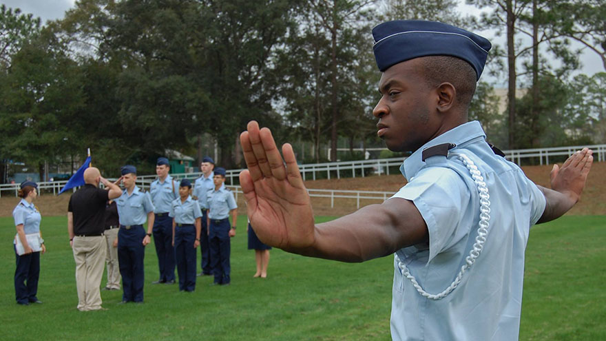 Air Force ROTC Field Training Preparation (FTP) cadets practice marching and road guard procedures