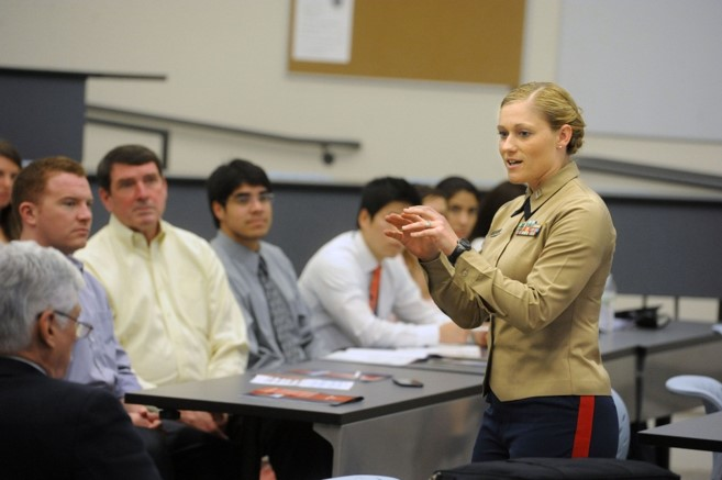 Captain Nicole Bastian speaks to the Executive Mentor Program and German MBA students about leadership.