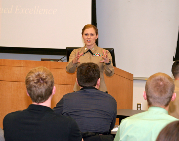 Captain Nicole Bastian speaks to the Executive Mentor Program and Germany MBA students about leadership.
