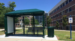 Photo of trolley shelter in front of Building 4.
