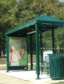 Photo of trolley shelter in front of Science and Engineering building.