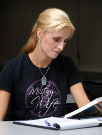 Image of a student wearing a Military Wife shirt.